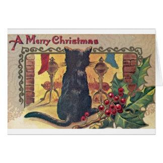 Gato preto do vintage no cartão de Natal da