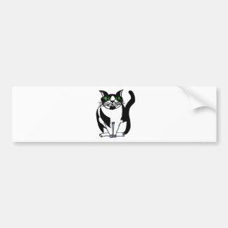 Gato preto e branco carnudo adesivo para carro