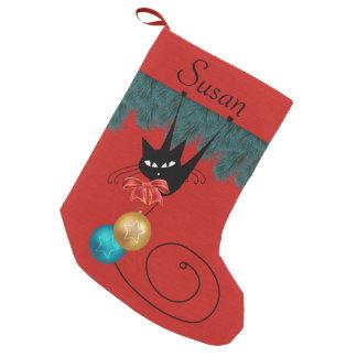Gato preto & meia personalizada ornamento meia de natal pequena