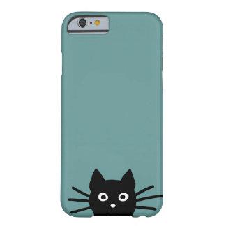 Gato preto no azul (a cor é customizável) capa barely there para iPhone 6