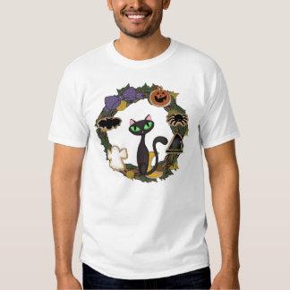 Gato preto o Dia das Bruxas T-shirts