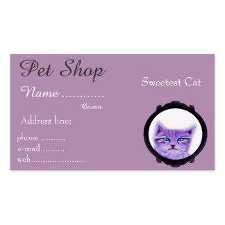 Gato roxo pintado costume com olhos azuis cartão de visita