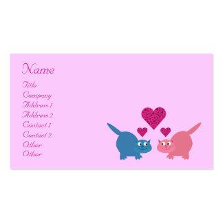 Gatos bonitos & corações dos desenhos animados que cartão de visita