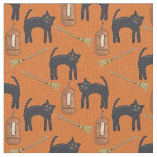 Gatos e abóboras Prim lunáticos, tecido do Dia das