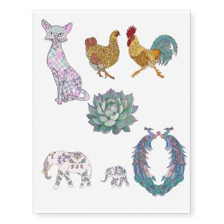gatos, elefantes, galinhas, pavões