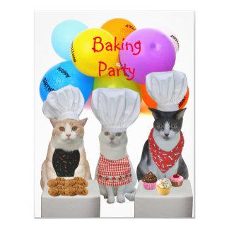 Gatos engraçados customizáveis que cozem o convite