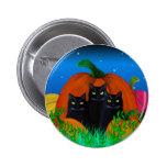Gatos pretos do Dia das Bruxas com botão das abóbo Pins