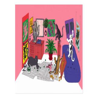 Gatos que pintam, arte cómico da pintura dos gatos cartão postal