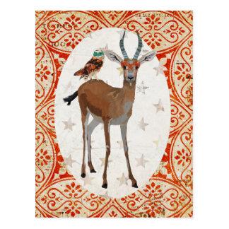 Gazela do mascarada & cartão da coruja cartão postal