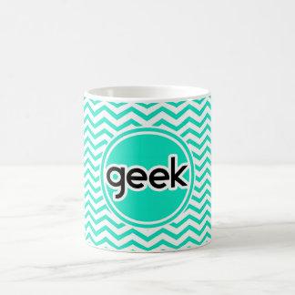 Geek Aqua Chevron verde Caneca