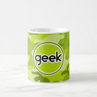 Geek camo verde-claro camuflagem caneca