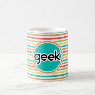 Geek listras brilhantes do arco-íris caneca