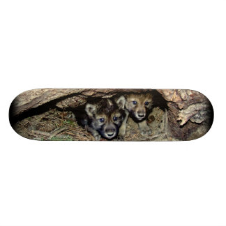 Gêmeo selvagem Cubs do lobo de madeira no antro Shape De Skate 18,1cm