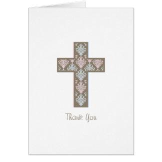 Gêmeos dos cartões de agradecimentos | do baptismo