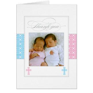 Gêmeos dos cartões de agradecimentos | do batismo