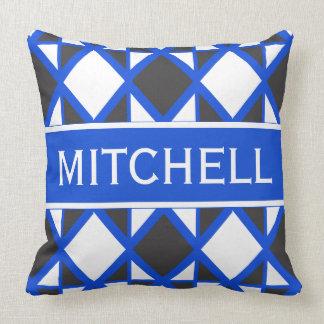 Geo azul retro personalizado almofada