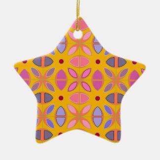 [GEO-OR-1] Padrões geométricos bonitos na laranja Ornamento De Cerâmica Estrela