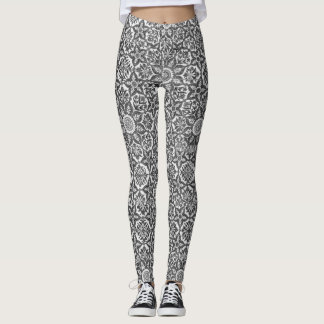 Geométrico islâmico preto & branco e design floral leggings