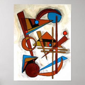 Geometrics - arte abstracta pintado à mão pôster