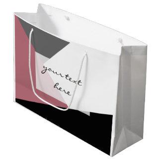 geometrics cor-de-rosa, preto, cinzento empoeirado sacola para presentes grande