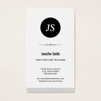 Gerente da arquitetura - branco preto limpo cartão de visitas