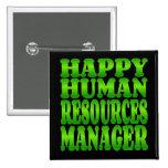 Gerente feliz dos recursos humanos no verde pins