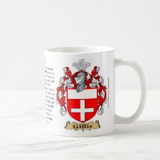 Gillis, a origem, o significado e a crista caneca de café
