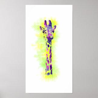 Girafa 2 da aguarela poster