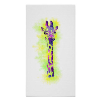 Girafa 2 da aguarela pôsteres