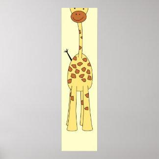Girafa bonito alto. Animal dos desenhos animados Poster