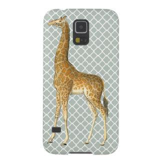 Girafa do vintage na capa de telefone cinzenta de