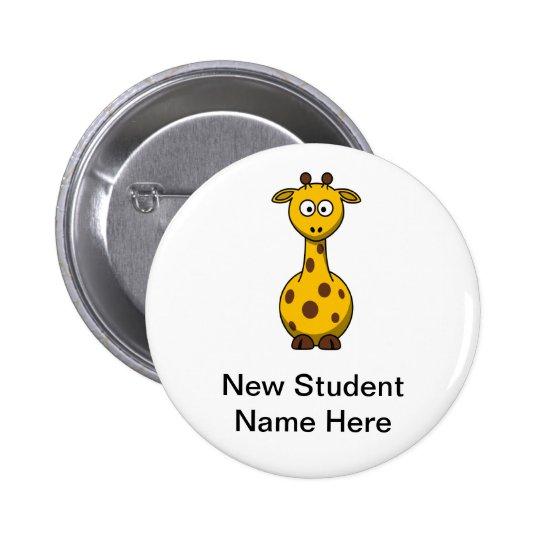 Girafa personalizado dos desenhos animados para es bóton redondo 5.08cm
