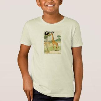 Girafa que come a letra do alfabeto da acácia t-shirt