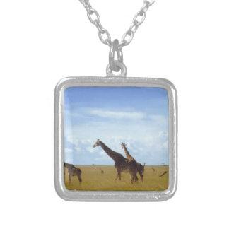 Girafas africanos do safari colar banhado a prata