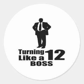 Girando 12 como um chefe adesivo