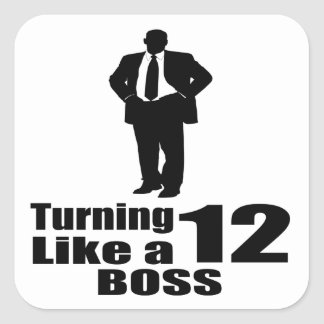 Girando 12 como um chefe adesivo quadrado
