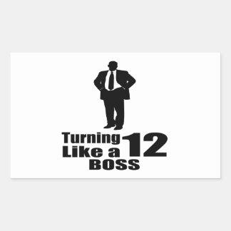 Girando 12 como um chefe adesivo retangular