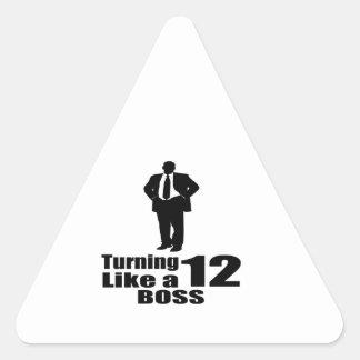Girando 12 como um chefe adesivo triangular