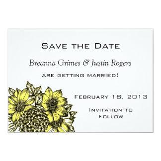 Girassóis amarelos que Wedding economias a data Convite 12.7 X 17.78cm
