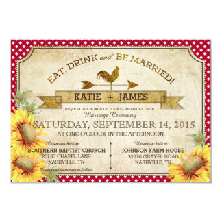Girassóis e convite do casamento do piquenique do convite 12.7 x 17.78cm