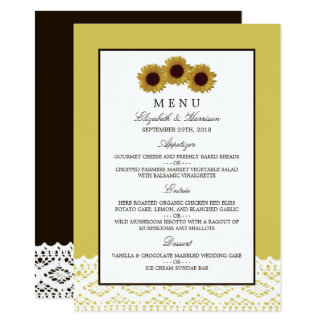 Girassóis e menu do casamento do laço do vintage convite 11.30 x 15.87cm