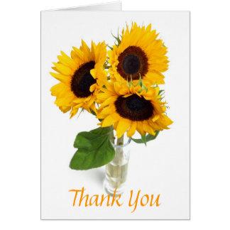 Girassóis em cartões de agradecimentos do vaso