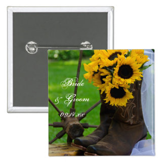 Girassóis rústicos e casamento do país das botas bóton quadrado 5.08cm