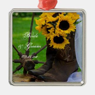 Girassóis rústicos e casamento do país das botas ornamento quadrado cor prata