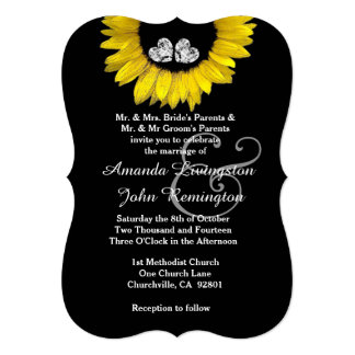 Girassol amarelo brilhante e alegre que Wedding Convite 12.7 X 17.78cm