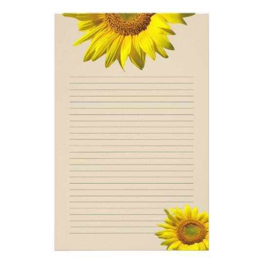 Girassol Amarelo Papel De Carta Pessoal Alinhado Papelaria
