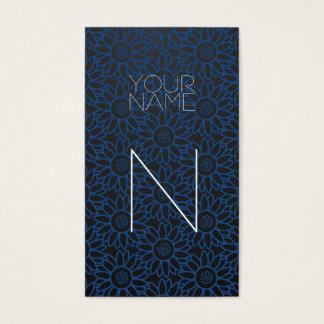 Girassol azul clássico da forma cartão de visitas