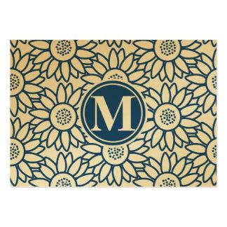 Girassol azul clássico do monograma cartão de visita grande