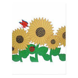 Girassol, borboleta e um joaninha em uma soma cartão postal