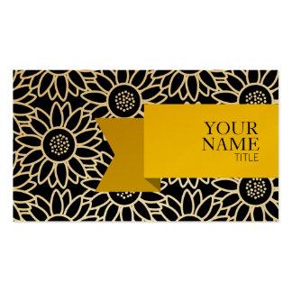 Girassol elegante da fita dourada cartão de visita